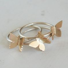 Flying Butterfly Stacking Ring Set - $44.00