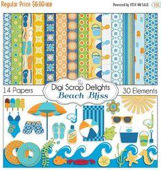 50% OFF TODAY Beach Digital Scrapbook Kit in Summer Orange & Aqua for Digital Scrapbooking, Crafts, Cards, Photographers, Instant Download