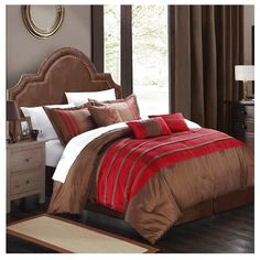 Chic Home Torino Pleated & Pieced Burgundy King 11 Piece Comforter Bed... ($110) ❤ liked on Polyvore featuring home, bed & bath, bedding, burgundy, queen bed set, king bed set, king size pillowcases, queen bed in a bag et king pillow shams