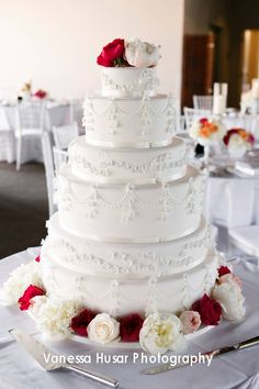 Amy Beck Cake Design - Chicago, IL - 6 Tier classic white fondant wedding cake with white piping and sugar flower - #amybeckcakedesign