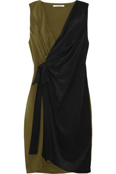 Color-block washed-silk dress by Robert Rodriguez