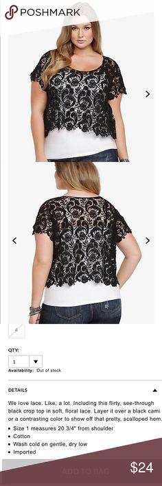 Torrid crochet crop top 🖤 Host pick ✨ Torrid lace crop top very new 💗 torrid Tops