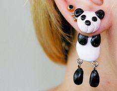 fake gauge plug two part Panda Earrings, Cute Stud Earrings, Polymer Clay Gifts, Animal Jewelry