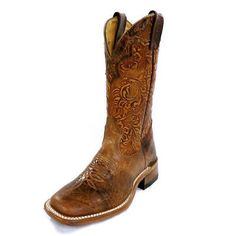 """Manufacturer: Boulet Style#: 2106 Description: Likely our best selling women's wide square toe boot. It's perfect for a day at the rodeo or boot scooting across the dance floor. - 12"""" Stamped Tooled S"""