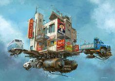 Flying Cars – Les illustrations retro-futuristes d'Alejandro Burdisio (image)