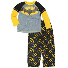 DC Comics Little Boys' Batman Gotham City Pajamas XS/4-5. Set includes soft poly top with flannel pants. Sublimated and screen printed graphics; Elastic waist. Ribbed-knit collar; Double stitched hems; Long sleeves. Features DC Comics' superhero: Batman!. This garment is made of flame resistant fabric.