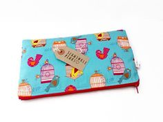 Quirky Birds Pencil Case / Makeup Bag by SchminklePinks on Etsy
