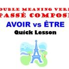 This is a quick lesson to teach the group of verbs that can use both AVOIR and ETRE in the Passe Compose.  Lesson contrasts the different meanings ...