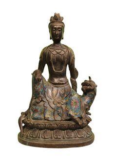 Guan Yin Kwan Yin Statue mit Cloisonne Verzierung