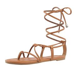 5dda184d00b2 DREAM PAIRS Women s Sammy 02 Tan Fashion Gladiator Design Lace Up Flat  Sandals Size 5 ...