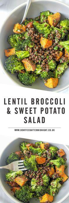 Warm puy lentil, broccoli & sweet potato salad