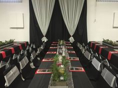 Black Red and White Themed Red And White, Black, Corporate Events, Table Decorations, Furniture, Home Decor, Decoration Home, Black People, Room Decor