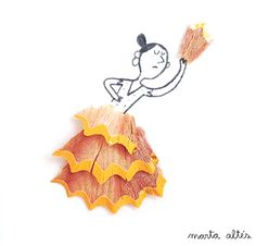 The art of recycling pencil shavings by Marta Altés. / #illustration