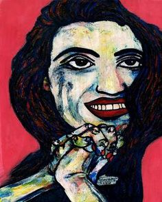 "Saatchi Art Artist CARMEN LUNA; Painting, ""50-RETRATOS Expresionistas. Angela Molina"" #art http://www.saatchiart.com/art-collection/Painting-Assemblage-Collage/Expressionist-Portrait/71968/51263/view"
