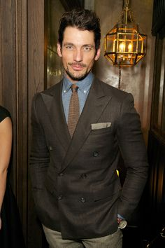 David Gandy brown double breasted blazer