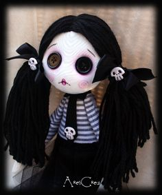 Velenia handmade creepy cute zombie goth cloth doll with big black button eyes and skulls. Zombie Dolls, Voodoo Dolls, Creepy Dolls, Doll Crafts, Diy Doll, Cute Zombie, Zombie Girl, Gothic Dolls, Monster Dolls