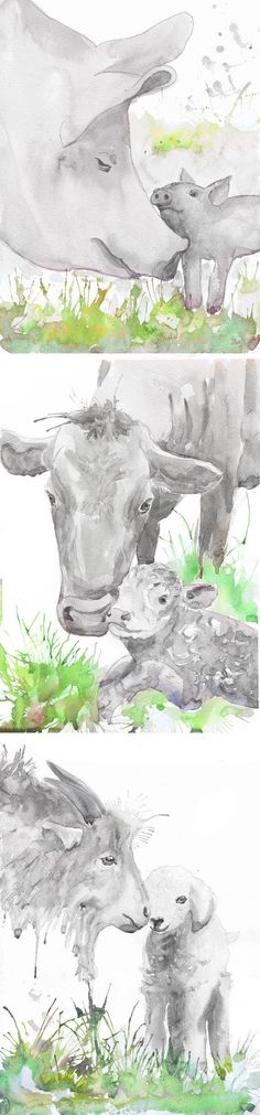 Farm Animals Nursery Set of 3 prints Watercolor Painting Boy Girl Nursery Farm Decor Art Watercolour Print New baby Gift Farm animal prints  Set of 3 prints-   high quality fine art prints of my original watercolor painting. It is the work of a watercolor series Portraits of the Heart    Size