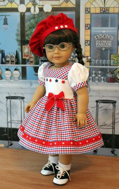 Patriotic Dress and Hat for Dolls Like Molly by BabiesArtUs My American Girl Doll, American Doll Clothes, Ag Doll Clothes, Doll Clothes Patterns, Clothing Patterns, Patriotic Dresses, Mom Dress, Doll Costume, Girl Dolls