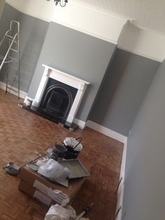 My living room in Farrow and Ball Manor House Grey - nice gray to combine with pink. - i like the picture rails Home Living Room, Living Room Color, New Living Room, House Styles, Living Room Grey, Front Rooms, Dado Rail Living Room, 1930s House, Victorian Living Room