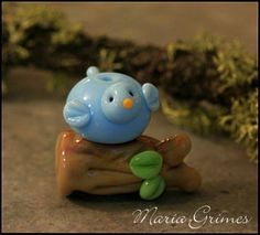 Lampwork Out on a Limb Bird on Branch Bead. $13.00, via Etsy.