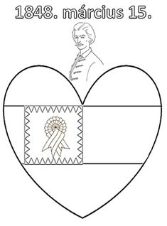 Petőfis, kokárdás színező. Piros fehér, zöld Techno, Coloring Pages, Kindergarten, Folk, March, School, Carnavals, Quote Coloring Pages, Popular