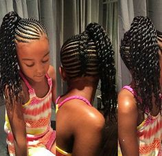 beautiful braided style , fishtail braid up the back and braided side ponytail with two strand twist kids braided hairstyles Lil Girl Hairstyles, Black Kids Hairstyles, Natural Hairstyles For Kids, Kids Braided Hairstyles, Natural Hair Styles, Teenage Hairstyles, Ponytail Hairstyles, Workout Hairstyles, Simple Hairstyles