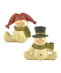 Take a look at this Red  Black Hat Mini Snowman Figurine Set by Blossom Bucket on #zulily today!