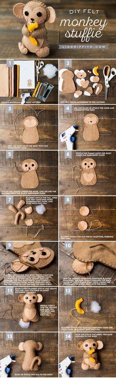 DIY Felt Monkey Stuffie Tutorial by MichaelsMakers Lia Griffith