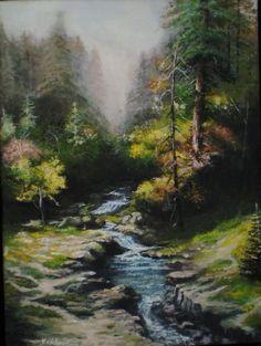 Moje malba přírody Trees, Pastel, River, Painting, Outdoor, Art, Dibujo, Outdoors, Art Background