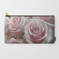 Soft Pink Rose Bouquet Carry-All Pouch Medium Size
