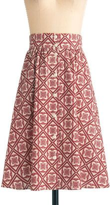 ShopStyle: Button to See Here Skirt in Red Flower