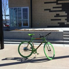 """Zooboo"" bamboo/aluminum electric bicycle prototype at First Street Plaza in Papillion, NE. My first serious test ride, March 13, 2015."