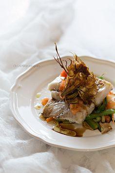 Nina's Kitchen: Lomo de merluza sobre fondo de verduras al vinagre de módena