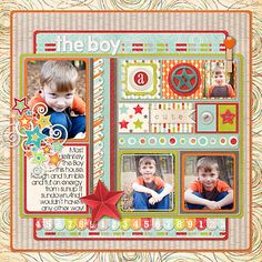 3 photo ,,,The Boy - Scrapbook.com -  So much to love about this layout!