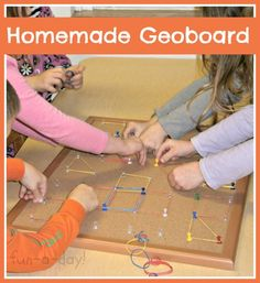 Homemade Geoboard -- hours of fun for children and made with items you likely already have at home!