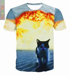 Fat White Cat Nebula Galaxy 3D Print T-Shirt Women Men tops Space Fashion Clothing Kitten Animal Funny tees t shirt //Price: $28.00 & FREE Shipping //     #catcostumes