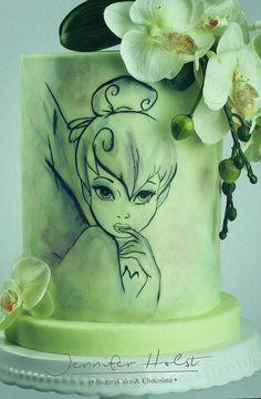 Tinkerbell Birthday Cake by Jennifer Holst Sugar Cake & Chocolate Tinkerbell Birthday Cakes, Disney Birthday, Disney Theme, Gorgeous Cakes, Amazing Cakes, Unique Cakes, Unique Birthday Cakes, Cake Birthday, 21st Birthday
