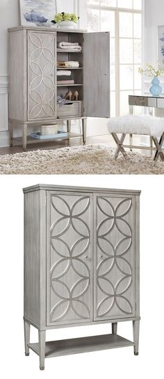 Add this beautiful Door Chest in your bedroom, living room, or anywhere where you need a little extra storage and style. The piece features an elegant silver finish that pairs exceptionally with the silver-leaf finished overlays on the doors. Behind the two doors, you'll find generous storage space, including three shelves and two drawers. The City Chic Silver Chest by Pulaski Accentrics Home at Great American Home Store in the Memphis, TN, Southaven, MS area. #ShopGAHS #chest #bedroom #amoires