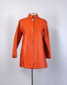 Vintage Bonnie Cashin Coat • Mod Orange Leather Coat • 1960s Swing Coat