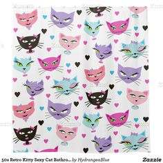 Shop Retro Kitty Sexy Cat Bathroom Shower Curtain created by HydrangeaBlue. Cat Shower Curtain, Custom Shower Curtains, Bathroom Shower Curtains, Retro Fabric, Shower Remodel, Paper Dolls, Retro Vintage, Kitty, Sexy