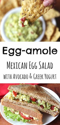 So yummy! This Egg-amole Mexican Egg Salad from Two Healthy Kitchens is fantastic as a dip, or on a sandwich! With delicious avocado and creamy Greek yogurt, you'll never even miss the mayo! Super easy - just 6 simple ingredients! ~ www.TwoHealthyKitchens.com