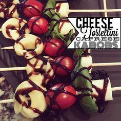 Cheese Tortellini Caprese Kabobs – Day 3 of Super Bowl Snack Recipes - kabob skewers - www.espressoeverafter.com