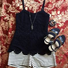 INC Crocheted Navy Tank Brand new, never worn beautiful tank with scalloped hemline. Lined with solid navy. Smoke free home. No trades. INC International Concepts Tops Camisoles