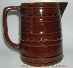 "Marcrest 6"" Rust Brown Daisy Dot Stoneware PitcherFound this at flea market in Canton TX."