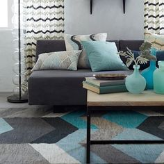 Love the colors with what you have going on already - Geo Wool Kilim #westelm