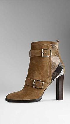 Check Jute Trim Suede Ankle Boots
