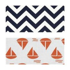 Nautical themed fabric for bedding.