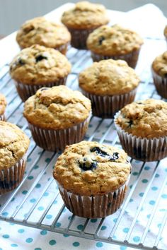 Banana Blueberry Oat Muffins | Made with 100% whole grains, no processed sugar, and coconut oil instead of butter! These muffins are hearty, healthy, and delicious, and freezable for a quick and easy breakfast any day of the week. | Bowl of Delicious!