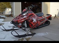 Snowmobile wrap- red/black