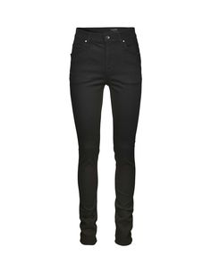 "Tiger of Sweden Jeans, Kelly jeans-Women's black high-waist, super-slim leg, five-pocket jeans in 10-ounce, super-stretch denim. The wash is called ""Blackend"", a completely black wash that has been dyed with sulphur for fast fading qualities. Rinsed for softness only, this wash will fade fast from black to grey to feature your own personal wear marks. Leather logo label on waistband."